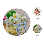 Potato salad in a jar on wooden Playing Cards (Round)  Front