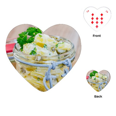 Potato salad in a jar on wooden Playing Cards (Heart)