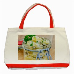 Potato salad in a jar on wooden Classic Tote Bag (Red)