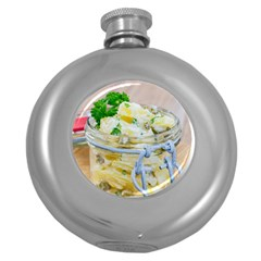 Potato salad in a jar on wooden Round Hip Flask (5 oz)