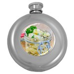 Potato salad in a jar on wooden Round Hip Flask (5 oz) Front