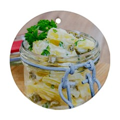 Potato salad in a jar on wooden Round Ornament (Two Sides)