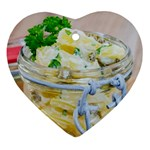 Potato salad in a jar on wooden Heart Ornament (2 Sides) Back