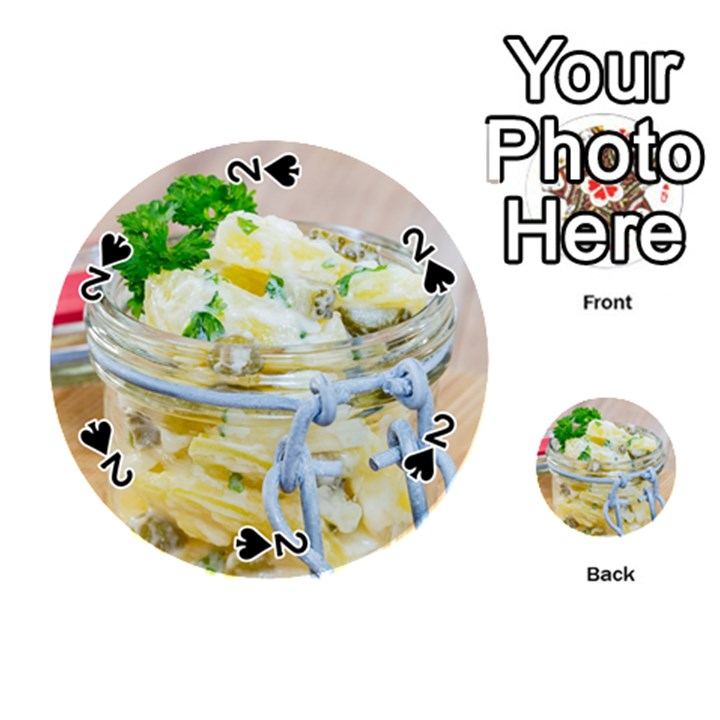 Potato salad in a jar on wooden Playing Cards 54 (Round)