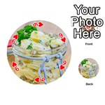 Potato salad in a jar on wooden Playing Cards 54 (Round)  Front - Heart9