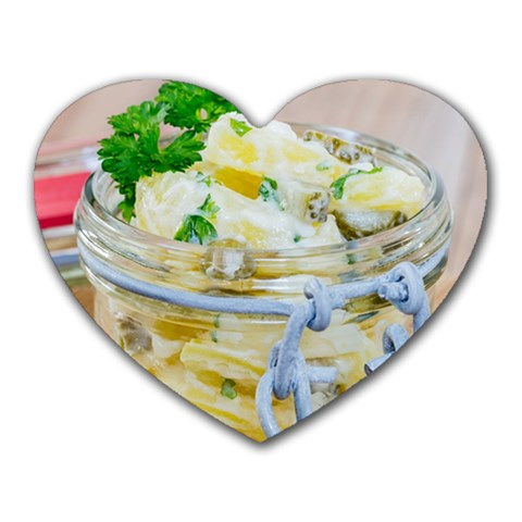 Potato salad in a jar on wooden Heart Mousepads