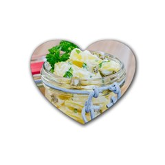 Potato salad in a jar on wooden Rubber Coaster (Heart)