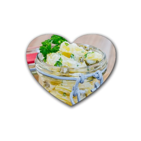 Potato salad in a jar on wooden Heart Coaster (4 pack)
