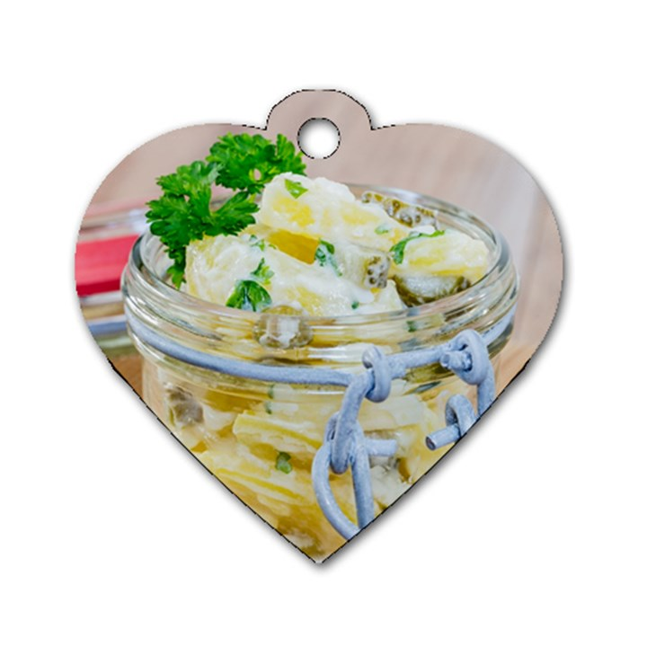 Potato salad in a jar on wooden Dog Tag Heart (Two Sides)