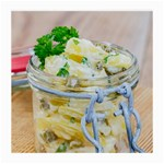 Potato salad in a jar on wooden Medium Glasses Cloth Front