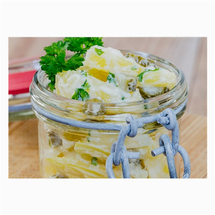 Potato salad in a jar on wooden Large Glasses Cloth