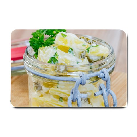 Potato salad in a jar on wooden Small Doormat