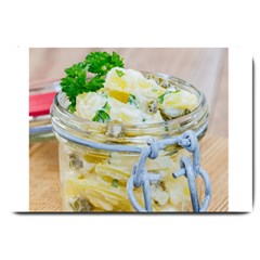 Potato salad in a jar on wooden Large Doormat