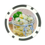 Potato salad in a jar on wooden Poker Chip Card Guards Back