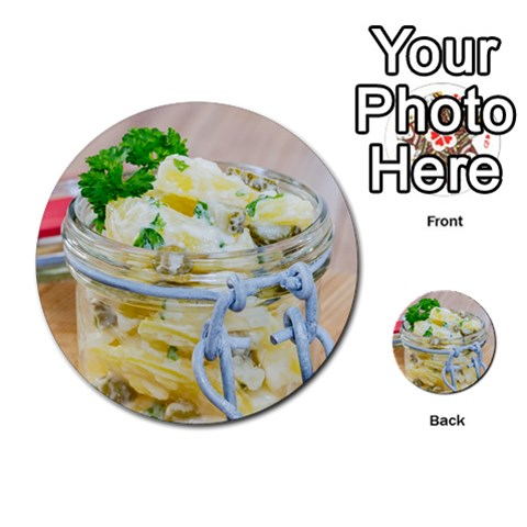 Potato salad in a jar on wooden Multi-purpose Cards (Round)