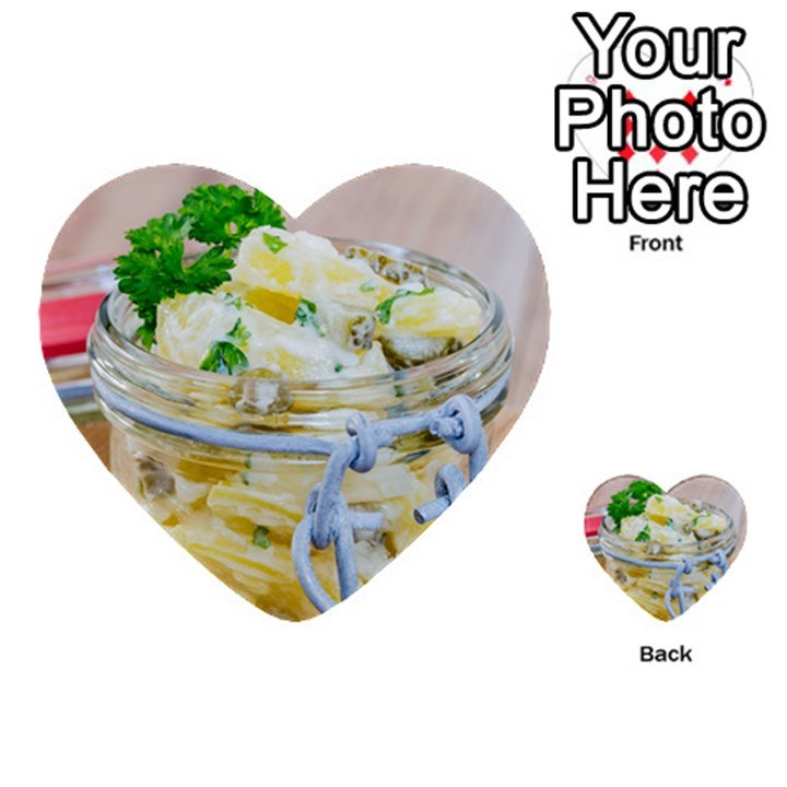 Potato salad in a jar on wooden Multi-purpose Cards (Heart)