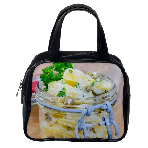 Potato salad in a jar on wooden Classic Handbags (One Side)
