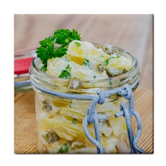 Potato salad in a jar on wooden Face Towel