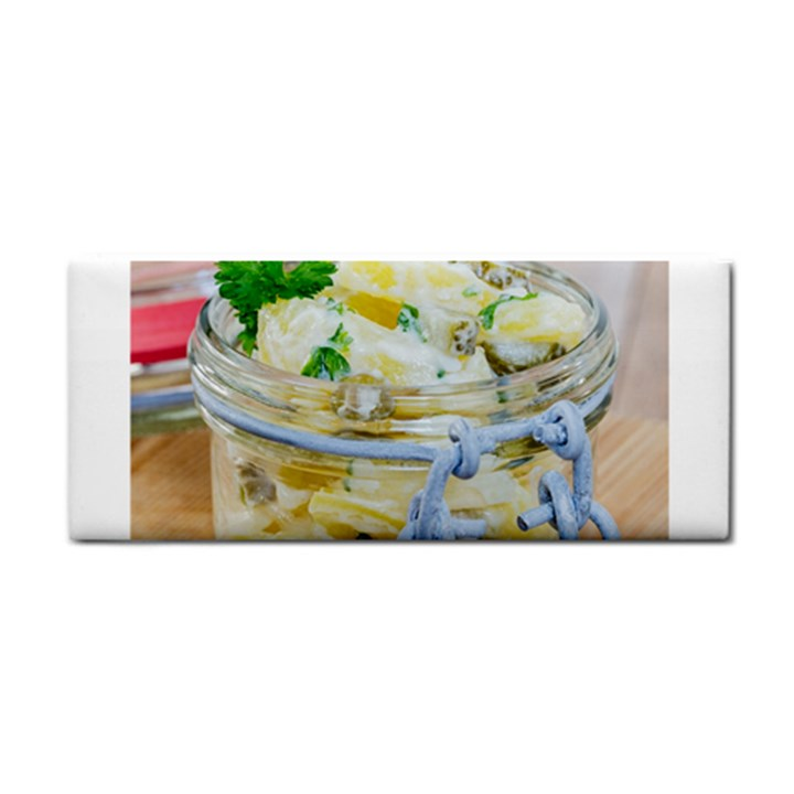 Potato salad in a jar on wooden Hand Towel