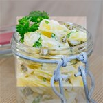 Potato salad in a jar on wooden Mini Canvas 4  x 4  4  x 4  x 0.875  Stretched Canvas