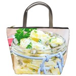 Potato salad in a jar on wooden Bucket Bags Front