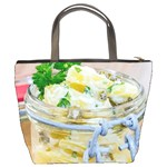 Potato salad in a jar on wooden Bucket Bags Back