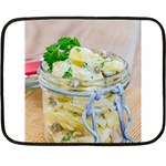 Potato salad in a jar on wooden Double Sided Fleece Blanket (Mini)  35 x27 Blanket Front