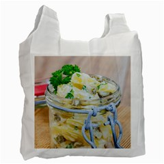 Potato Salad In A Jar On Wooden Recycle Bag (one Side)
