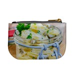 Potato salad in a jar on wooden Mini Coin Purses Back
