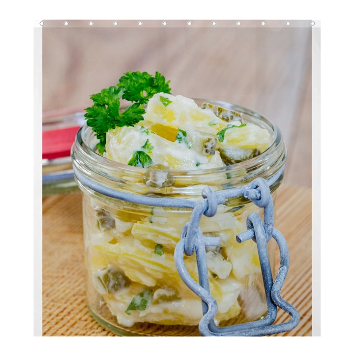 Potato salad in a jar on wooden Shower Curtain 66  x 72  (Large)