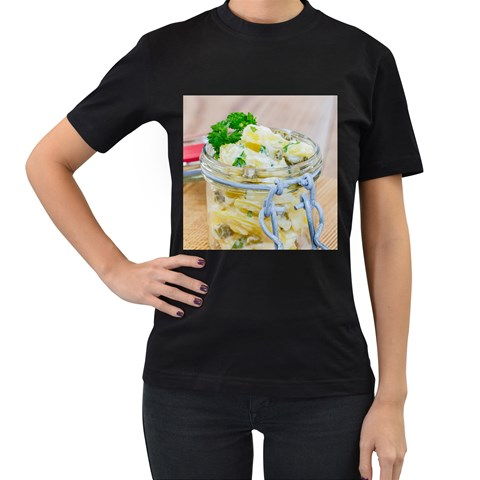 Potato salad in a jar on wooden Women s T-Shirt (Black)