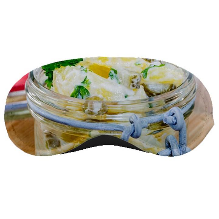 Potato salad in a jar on wooden Sleeping Masks