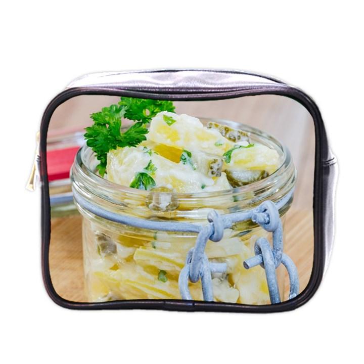 Potato salad in a jar on wooden Mini Toiletries Bags