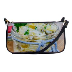 Potato salad in a jar on wooden Shoulder Clutch Bags
