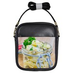 Potato salad in a jar on wooden Girls Sling Bags Front