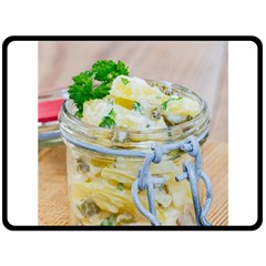 Potato salad in a jar on wooden Fleece Blanket (Large)