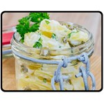 Potato salad in a jar on wooden Fleece Blanket (Medium)  60 x50 Blanket Front