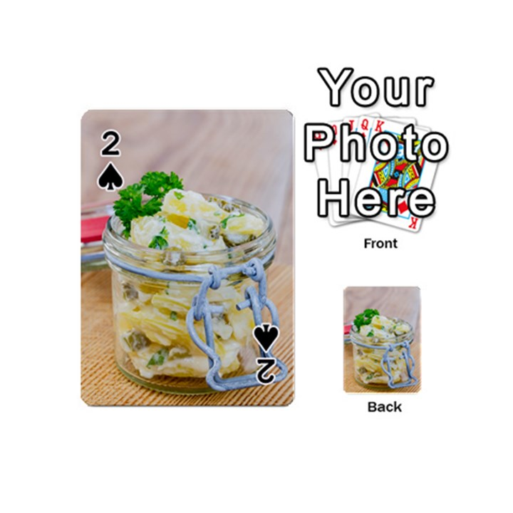 Potato salad in a jar on wooden Playing Cards 54 (Mini)