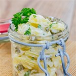 Potato salad in a jar on wooden Storage Stool 12   Front