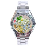 Potato salad in a jar on wooden Stainless Steel Analogue Watch Front