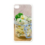 Potato salad in a jar on wooden Apple iPhone 4 Case (White) Front