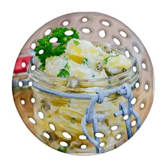 Potato salad in a jar on wooden Ornament (Round Filigree)