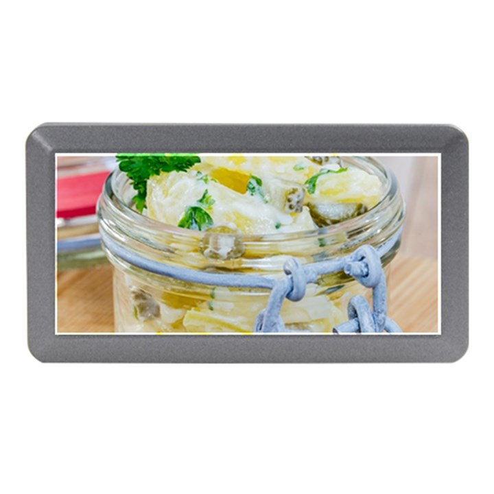 Potato salad in a jar on wooden Memory Card Reader (Mini)