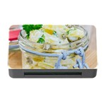 Potato salad in a jar on wooden Memory Card Reader with CF Front