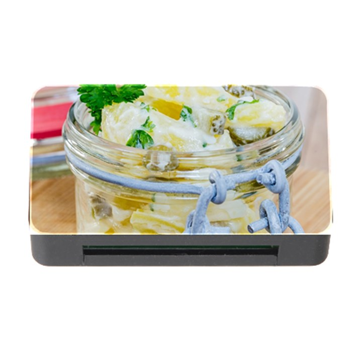 Potato salad in a jar on wooden Memory Card Reader with CF