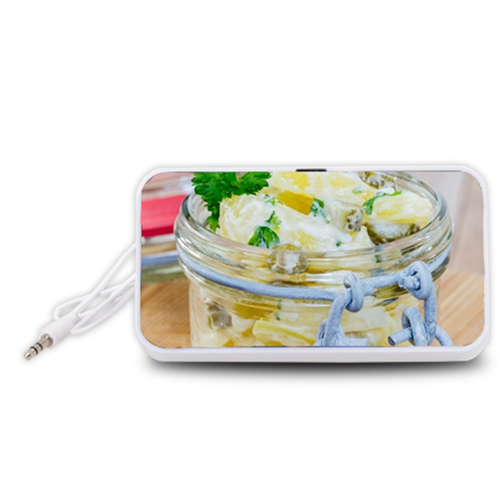 Potato salad in a jar on wooden Portable Speaker (White)