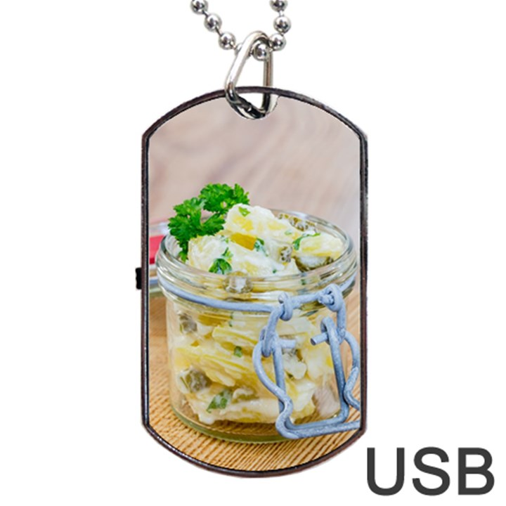 Potato salad in a jar on wooden Dog Tag USB Flash (Two Sides)