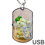 Potato salad in a jar on wooden Dog Tag USB Flash (Two Sides)  Back