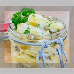 Potato salad in a jar on wooden Deluxe Canvas 20  x 16   20  x 16  x 1.5  Stretched Canvas