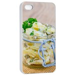 Potato salad in a jar on wooden Apple iPhone 4/4s Seamless Case (White) Front